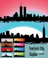 Gratis Vector Set: 12 New York City Skyline silhouetten