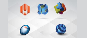 5 - 3D Shapes Logotype Logos Vector Set