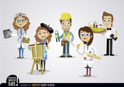 People working in different jobs