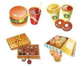 Free stock vector design elements 3D set icon food 37