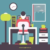 Office man working flat illustration