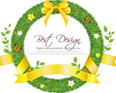 Realistic Circle Grass Frame with Yellow Ribbon