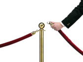 velvet rope with security unlocking it (high Res) PSD