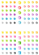 South Korea Crystal Round And Square Crystal Vector Icons