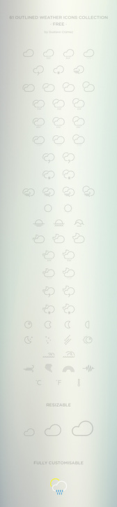 61 Outlined Weather Icons