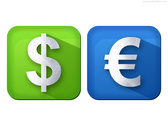 Dollar and Euro currency icons (PSD)