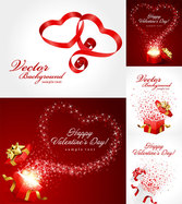 Valentine's Day Ribbon And Gift Vector Valentine's Day Streamers Heart-shaped