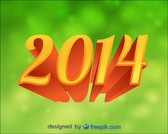 2014 Background Green Bokeh 3d Text