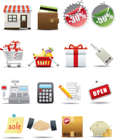 Supermarket Shopping Icons - Vector Supermarkets Shopping Purse