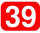 Red Rounded Rectangle With Number 39