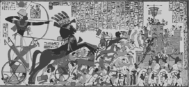 English: Ramesses IIs victory over the Cheta people and the Siege of Dapur. (Syria)