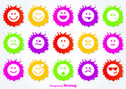 Paint Splatter Emoticon Icon Set