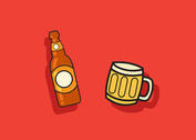 Beer Vector Bottle and Mug