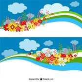 Floral sky banners design
