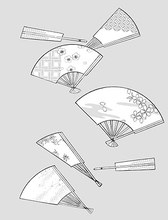 Vector Line Drawing Of Flowers-42(Fan, Cherry, Plum Blossom, Classical Background Patterns)