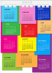 Colorful Dairy Page Spiral Binding 2015 Calendar