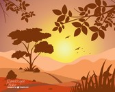 Vector sunset landscape view