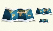 Colorful Unfolded World Map Design PSD