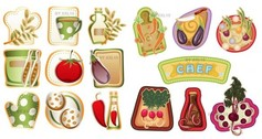 16 Country Kitchen Cooking Vector Stickers