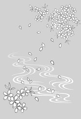 Japanese Line Drawing Of Plant Flowers Vector Graphic -19 (