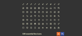 100 Line Style Essential Vector Icons Set
