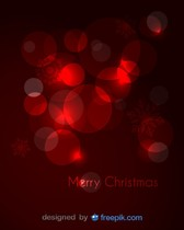Merry Christmas Greeting Card with red snowfalkes and red balloons