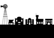Old west town silhouette