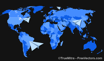 Paper Planes on World Map