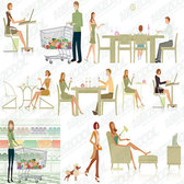 Men and women, shopping, dining