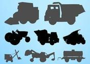 Construction Vehicles Silhouettes Set