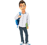 Boy Vector Character with Bag and Notepad