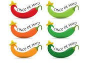 Cinco de Mayo Banners Vectors with Chilies