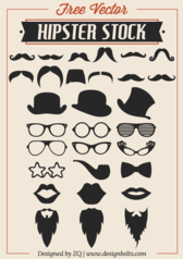 Free Vector Hipster Stock - Mustache, Beard & RayBan Glasses