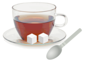 Glass cup with glass saucer, spoon and sugar cubes