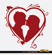 Kissing couple heart swirls background