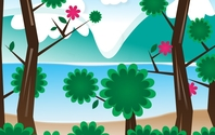 Simple Vector Landscape Trees Leaves Branches
