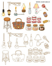 Hand-Painted Icon Vector Graphic Supplies Home