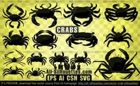 15 Vector crab silhouettes