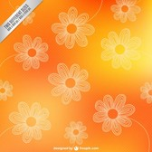 outlines of flowers on orange background
