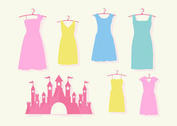 Pink Princess Castle and Dress Vector Set