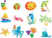 Elements Of Vector Cute Summer