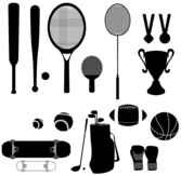 Vector Sport Stuffs - Baseball, Basketball, Cup, Golf, Medal, Racket, Skateboard
