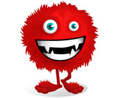 Red Fluffy Monster Vector Character
