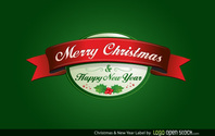 Merry Christmas and Happy New Year Label Vector Free