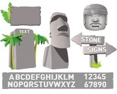 Stone Rock Signs and Alphabet Icons