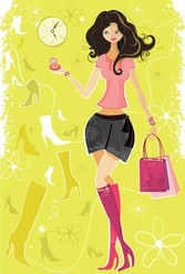 5 Vector Fashion Shopping Girl