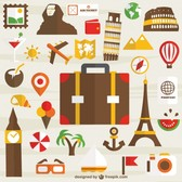 Holiday travel set of icons free for download