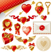 Golden Love Element Vector Material++ Valentine's Day Romance Lover