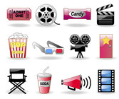 Movie Tickets, Popcorn, Glasses, Camera, Icons