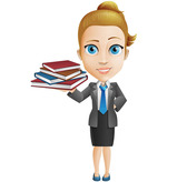 Vector Woman Character Holding Books